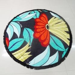 100% Cotton Full Reactive Printed Velvet Round Beach Towels With Black Tassels Fringe