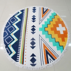 Microfiber Printed Round Beach Towels With Tassels Fringe