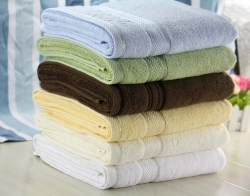 100% Cotton Solid Color Dyed Bath Towels With Embroidery