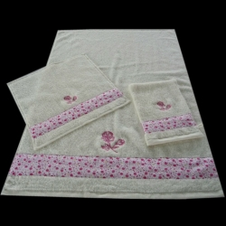 Cotton Terry Lace Towel Sets With Embroidery